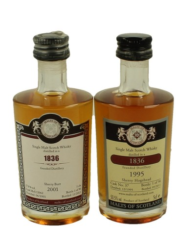 1836 FOUNDED DISTILLERY  miniature 1995-2001 2x 5cl  Malts of Scotland Cask 12062-37