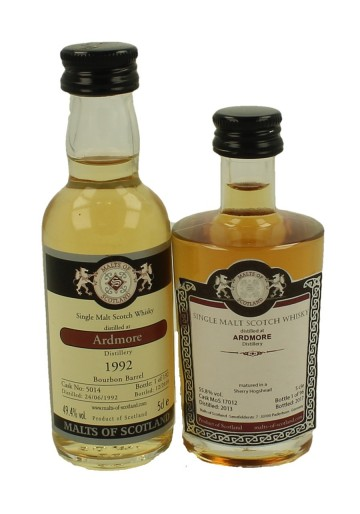 ARDMORE  miniature 1992-2013 2 x 5cl  Malts of Scotland Cask 5014-17012