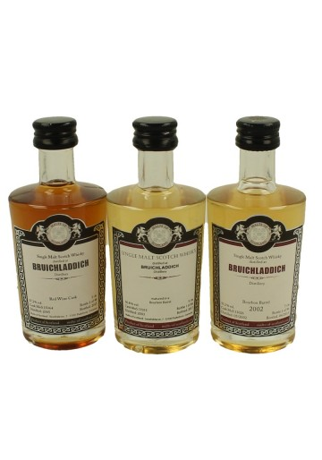 BRUICHLADDICH miniature 2002-2003-2005 3 x 5cl  Malts of Scotland Cask 15064-17015-13026