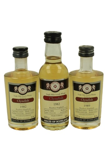 CLYNELISH  miniature 1982-1982-1989 3x 5cl  Malts of Scotland Cask 11015-12012-5894