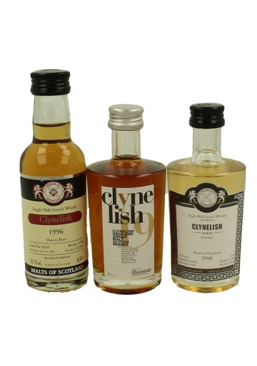 CLYNELISH  miniature 1995-1996-1998 3x 5cl  Malts of Scotland Cask 8245-15 006-12025