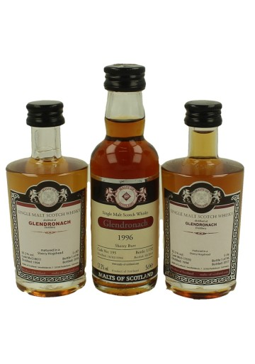 GLENDRONACH  miniature 1994-1994-1996 3 x 5cl  Malts of Scotland cask 18011-17010-195