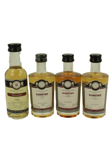 GLENROTHES  miniature 1968-1980-1982-1996 4 x 5cl  Malts of Scotland Cask 13509-12065-16040-14028