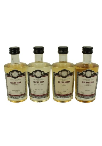 ISLE OF JURE -ISLE OF ARRAN   miniature 1992-1996-1996-2006 4x 5cl  Malts of Scotland Cask 12064-16012-13002-14029