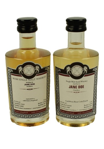 JANE DOE  miniature 1989-2000 2x 5cl  Malts of Scotland Cask 17025-16044