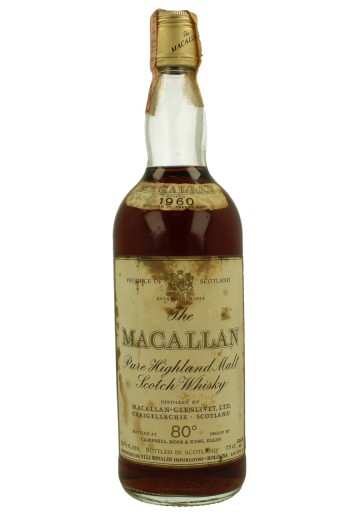 MACALLAN Over 15yo 1960 26 2/3 Fl. Ozs 80°proof OB  -rinaldi Import Bottle propriety of private collector for sale
