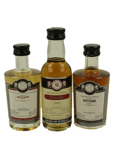 SPEYSIDE  miniature 1993-1993-1997 3x 5cl  Malts of Scotland Cask 18012-636-15040