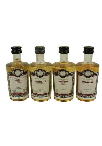 SPRINGBANK miniature 1991-1992-1998-1998 4x 5cl  Malts of Scotland Cask 17028-12036-15038-12014