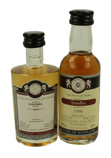 STRATHMILL- TAMDHU miniature 1990-1991 2x 5cl  Malts of Scotland Cask 17021-8119